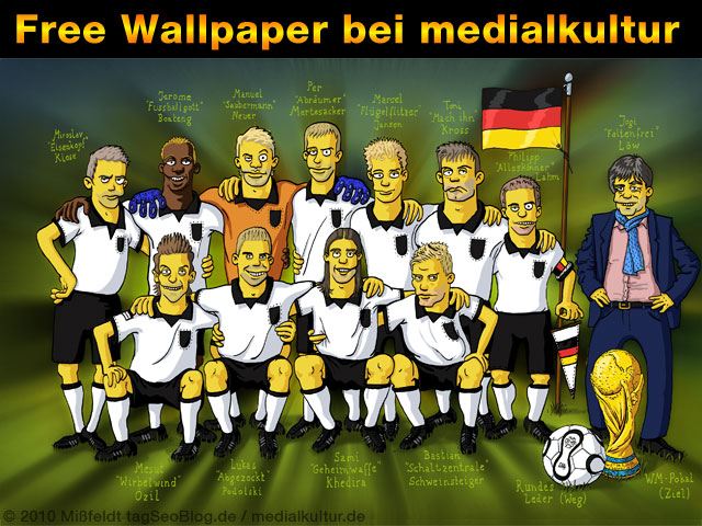 Free WM-2010-Wallpaper: Deutsche Fussball-Nationalmannschaft als Simpsons