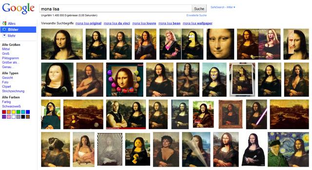 Google Bildersuche neu: Mona Lisa verwirrt