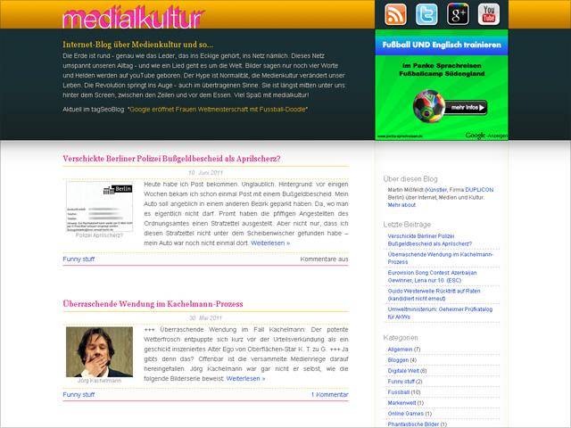 Medialkultur Blog-Design Stand: 22.07.2011